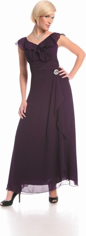 Fioletowa sukienka Fokus z krótkim rękawem maxi