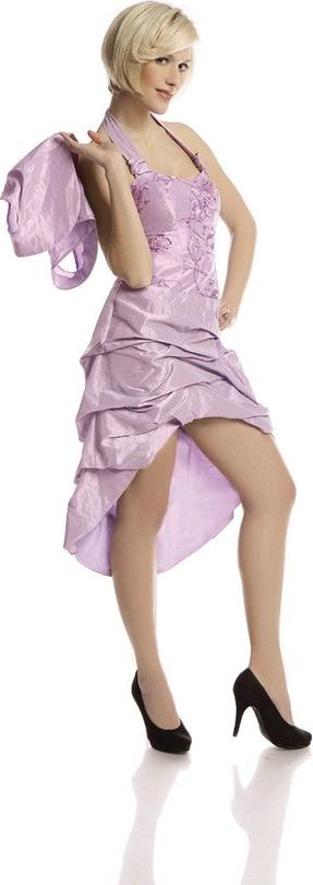 Fioletowa sukienka Fokus z okrągłym dekoltem