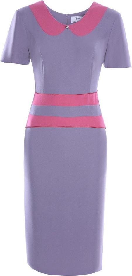 Fioletowa sukienka Fokus z okrągłym dekoltem mini