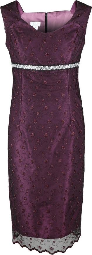 Fioletowa sukienka Fokus z okrągłym dekoltem w stylu klasycznym midi