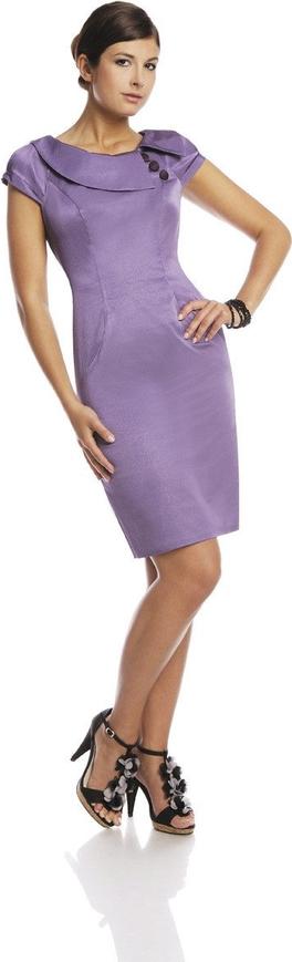 Fioletowa sukienka Fokus z okrągłym dekoltem z krótkim rękawem