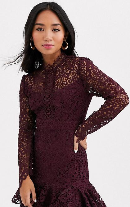 Fioletowa sukienka Forever New Petite z długim rękawem mini