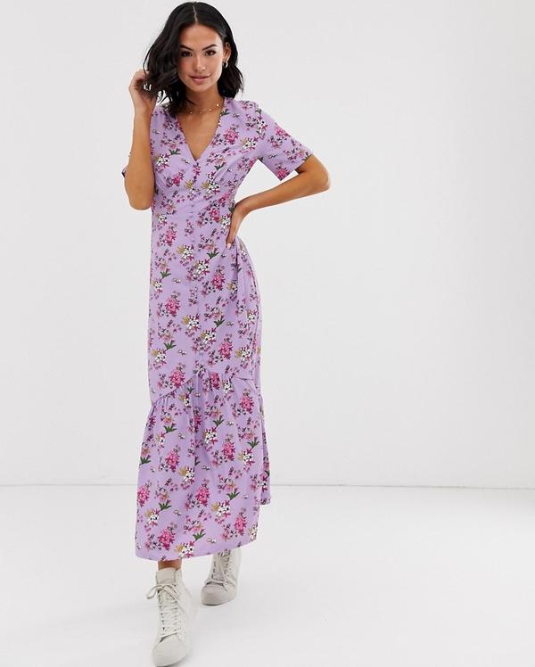 Fioletowa sukienka Glamorous z dekoltem w kształcie litery v maxi z krótkim rękawem