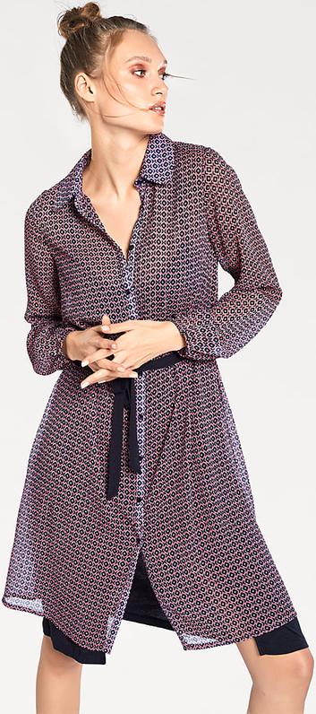 Fioletowa sukienka Heine z długim rękawem