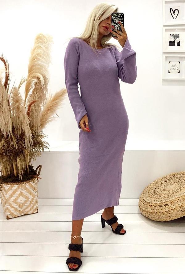 Fioletowa sukienka IVET z długim rękawem w stylu casual prosta