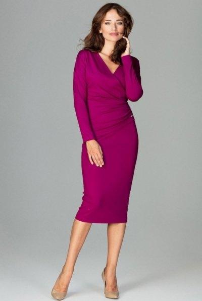 Fioletowa sukienka LENITIF midi z długim rękawem