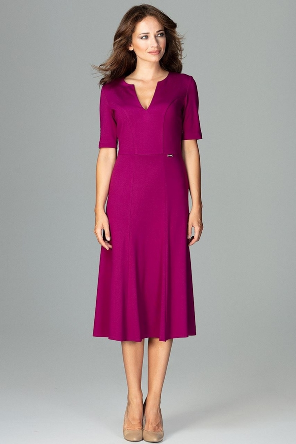 Fioletowa sukienka LENITIF z dekoltem w kształcie litery v midi