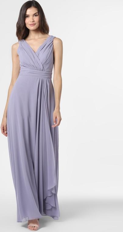 Fioletowa sukienka Marie Lund z dekoltem w kształcie litery v