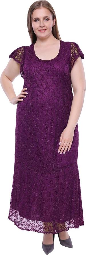 Fioletowa sukienka modneduzerozmiary.pl maxi z okrągłym dekoltem