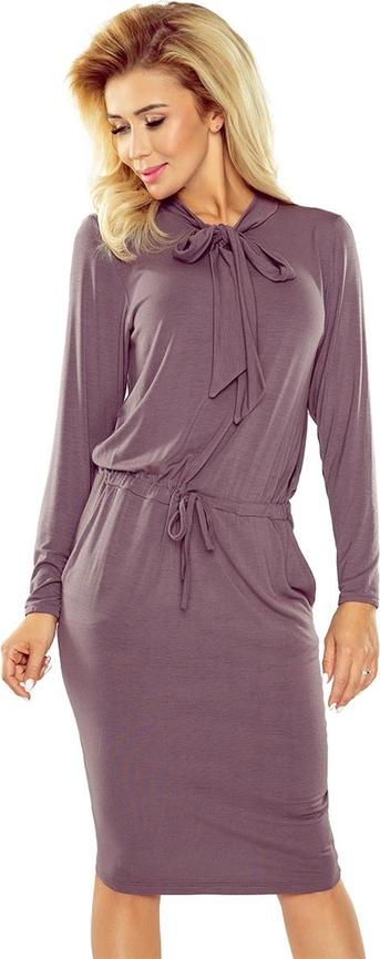Fioletowa sukienka NUMOCO w stylu casual ołówkowa z długim rękawem