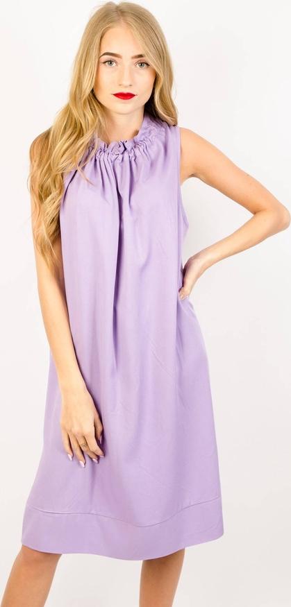 Fioletowa sukienka Olika midi bez rękawów
