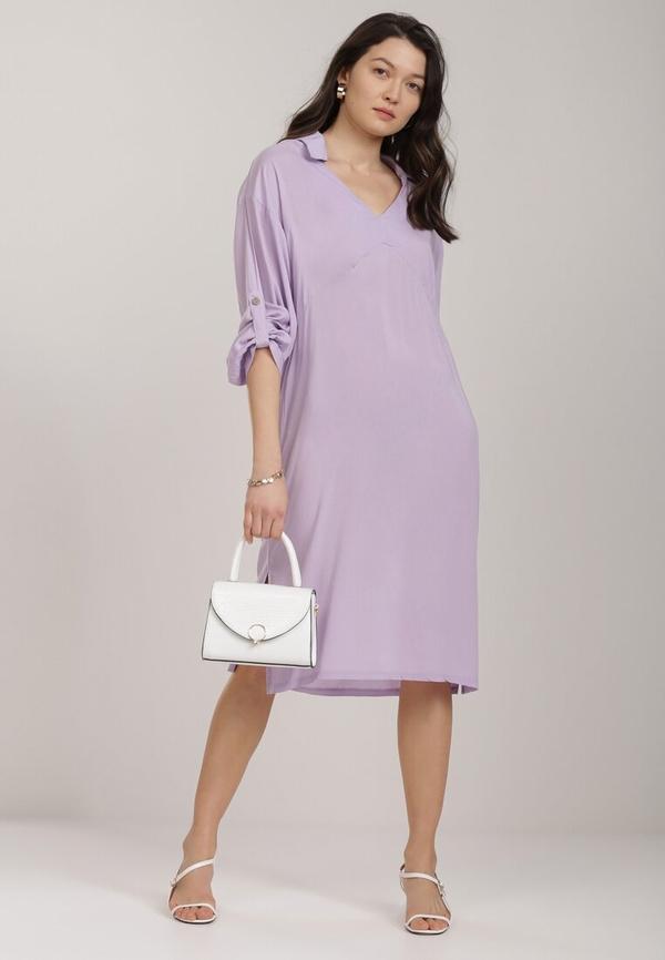 Fioletowa sukienka Renee z długim rękawem midi