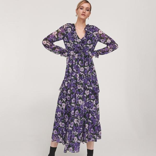 Fioletowa sukienka Reserved z dekoltem w kształcie litery v maxi w stylu casual