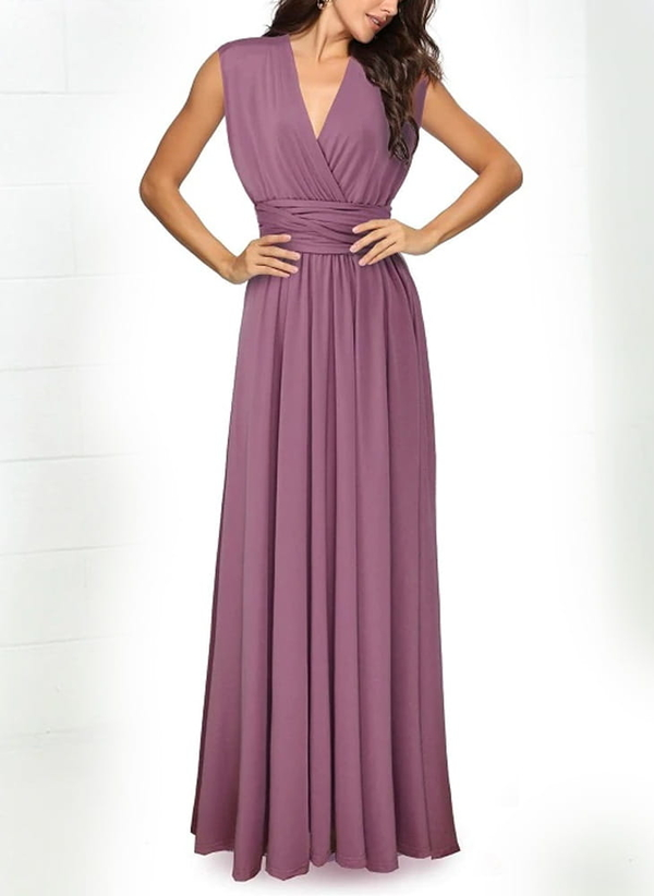 Fioletowa sukienka Sandbella maxi bez rękawów