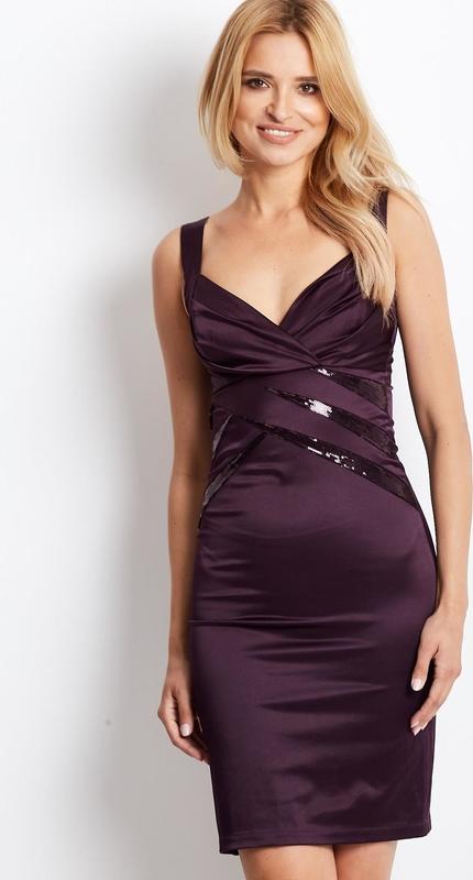 Fioletowa sukienka Sheandher.pl z dekoltem w kształcie litery v z bawełny