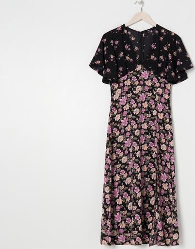 Fioletowa sukienka Sinsay z krótkim rękawem z okrągłym dekoltem