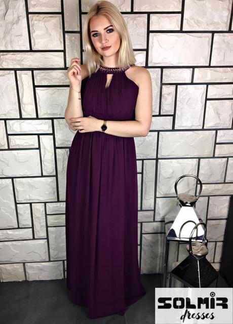 Fioletowa sukienka Solmir maxi z szyfonu bez rękawów