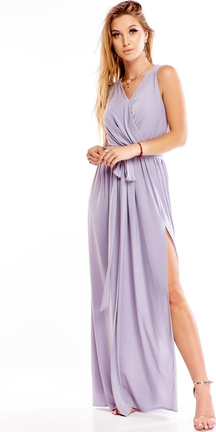 Fioletowa sukienka TAGLESS bez rękawów z dekoltem w kształcie litery v