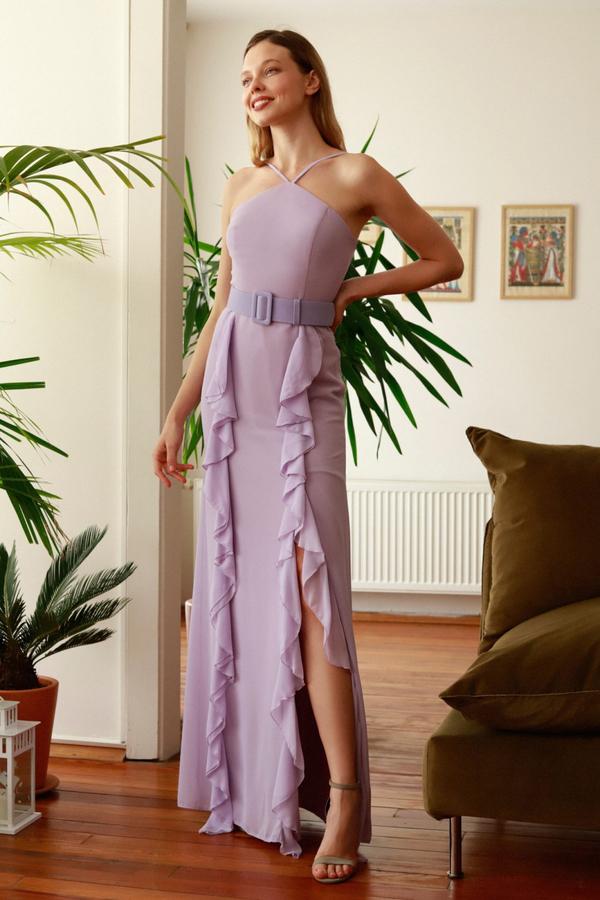 Fioletowa sukienka Trendyol bez rękawów maxi