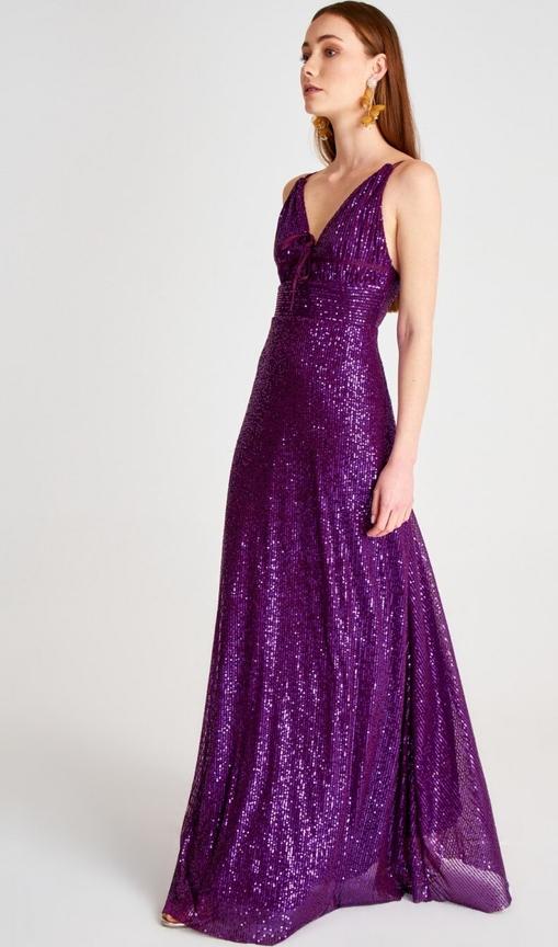 Fioletowa sukienka Trendyol maxi na ramiączkach z dekoltem w kształcie litery v