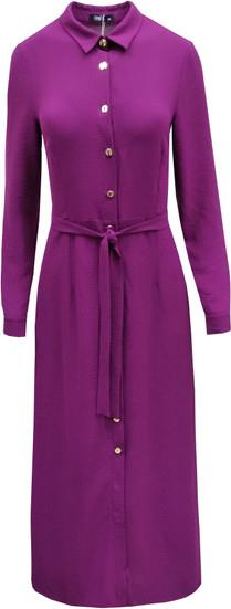 Fioletowa sukienka Trynite koszulowa z tkaniny z długim rękawem