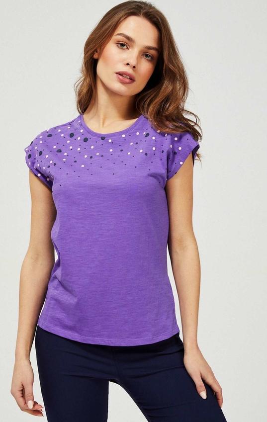 Fioletowy t-shirt Moodo z okrągłym dekoltem
