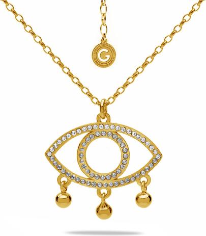GIORRE MEDALION OKO WYSADZANY KRYSZTAŁAMI SWAROVSKI, SREBRO 925 : Kolor kryształu SWAROVSKI - Crystal, Kolor pokrycia srebra - Pokrycie Żółtym 24K Złotem