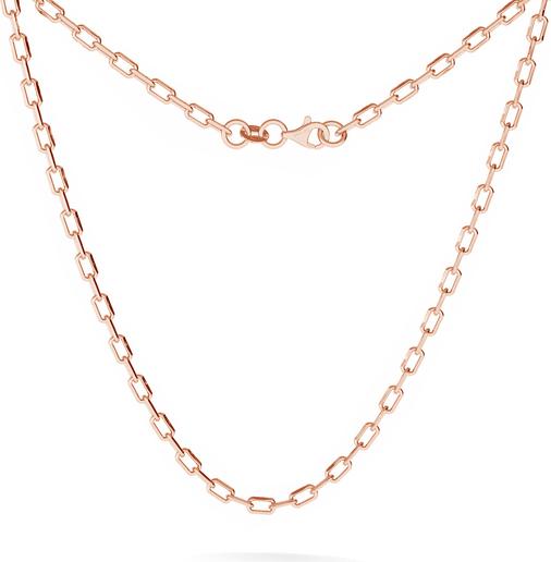 GIORRE MĘSKI SREBRNY ŁAŃCUSZEK CHOKER ANKER DIAMENTOWANY 925 : Długość (cm) - 45, Kolor pokrycia srebra - Pokrycie Różowym 18K Złotem
