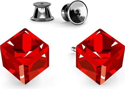 GIORRE SREBRNE KOLCZYKI KOSTKI SWAROVSKI 925 : Kolor kryształu SWAROVSKI - Siam, Kolor pokrycia srebra - Pokrycie Czarnym Rodem
