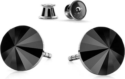 GIORRE SREBRNE KOLCZYKI SWAROVSKI RIVOLI 6MM 925 : Kolor kryształu SWAROVSKI - Jet, Kolor pokrycia srebra - Pokrycie Czarnym Rodem