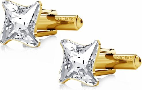 GIORRE SREBRNE SPINKI DO MANKIETU SWAROVSKI GWIAZDA 925 : Kolor kryształu SWAROVSKI - Crystal, Kolor pokrycia srebra - Pokrycie Żółtym 24K Złotem