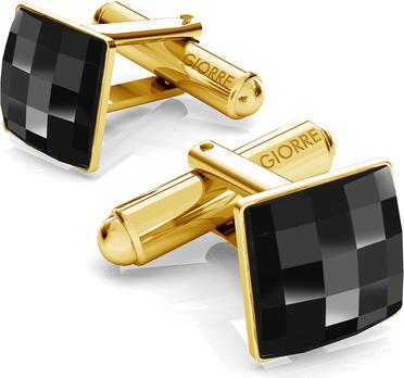 GIORRE Srebrne spinki do mankietu z kwadratowym kryształem swarovskiego 925 : Kolor kryształu SWAROVSKI - Jet, Kolor pokrycia srebra - Pokrycie Żółtym 24K Złotem