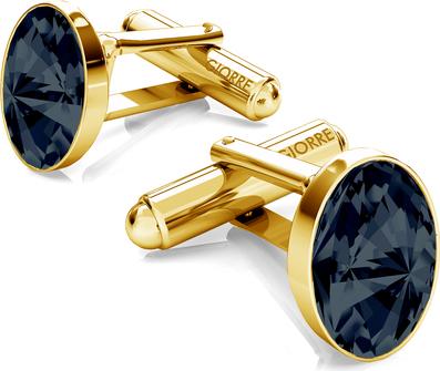 GIORRE Srebrne spinki do mankietu z owalnym kryształem swarovskiego 925 : Kolor kryształu SWAROVSKI - Graphite, Kolor pokrycia srebra - Pokrycie Żółtym 24K Złotem