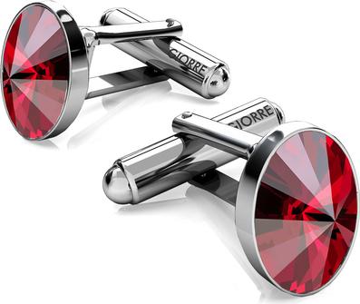 GIORRE Srebrne spinki do mankietu z owalnym kryształem swarovskiego 925 : Kolor kryształu SWAROVSKI - Light Siam, Kolor pokrycia srebra - Pokrycie Czarnym Rodem