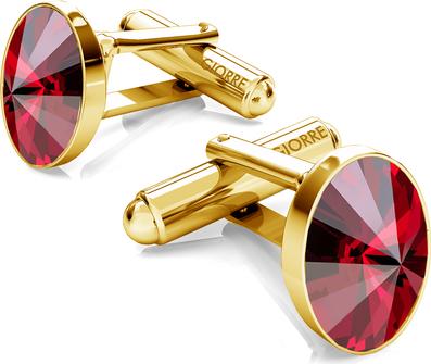 GIORRE Srebrne spinki do mankietu z owalnym kryształem swarovskiego 925 : Kolor kryształu SWAROVSKI - Light Siam, Kolor pokrycia srebra - Pokrycie Żółtym 24K Złotem