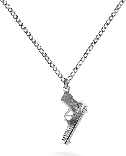 GIORRE Srebrny naszyjnik pistolet beretta 925 : Długość (cm) - 70, Kolor pokrycia srebra - Pokrycie Czarnym Rodem