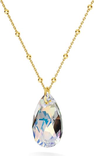 GIORRE ZŁOCONY NASZYJNIK Z KRYSZTAŁEM SWAROVSKIEGO - MIGDAŁ : Kolor kryształu SWAROVSKI - Crystal AB, Kolor pokrycia srebra - Pokrycie Żółtym 24K Złotem