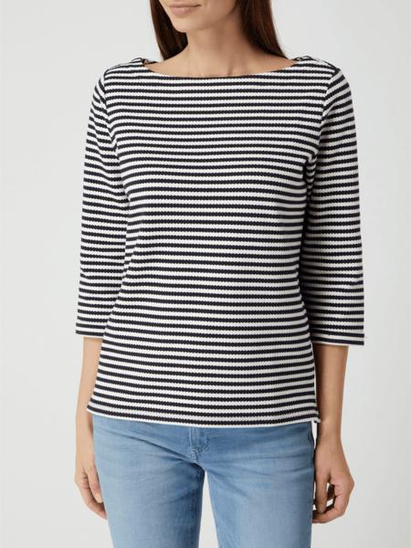 Granatowa bluzka Esprit z bawełny z okrągłym dekoltem