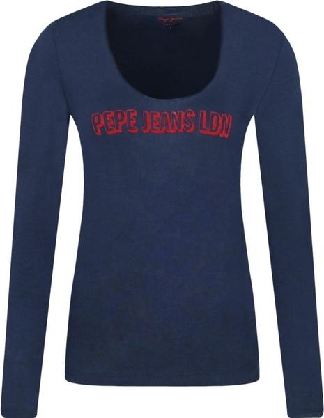 Granatowa bluzka Pepe Jeans w stylu casual z długim rękawem z okrągłym dekoltem