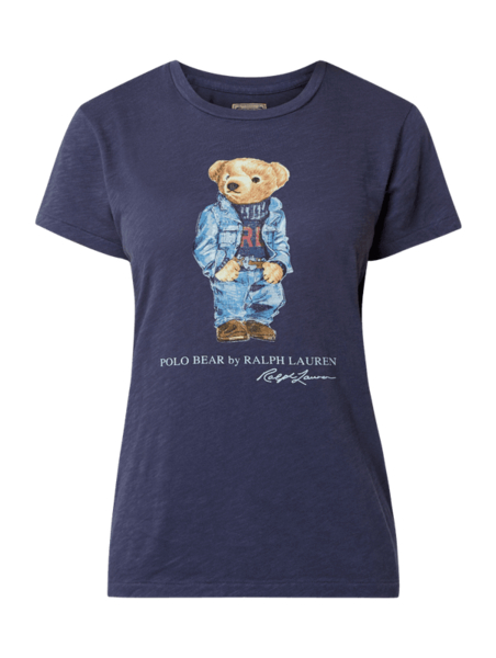 Granatowa bluzka POLO RALPH LAUREN z bawełny