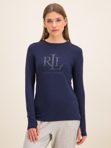 Granatowa bluzka Ralph Lauren z długim rękawem z okrągłym dekoltem