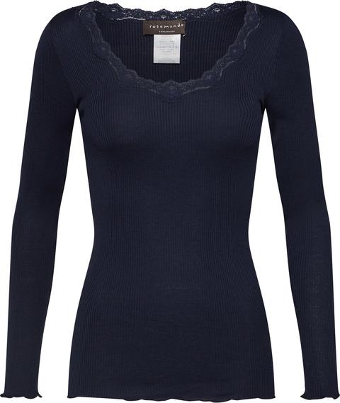 Granatowa bluzka Rosemunde z długim rękawem z jedwabiu w stylu casual