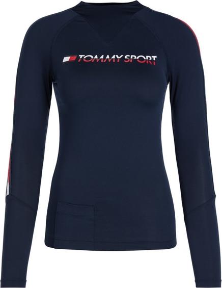 Granatowa bluzka Tommy Sport w sportowym stylu z długim rękawem