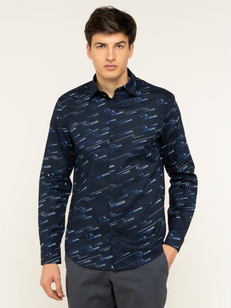 Granatowa koszula Armani Exchange z długim rękawem