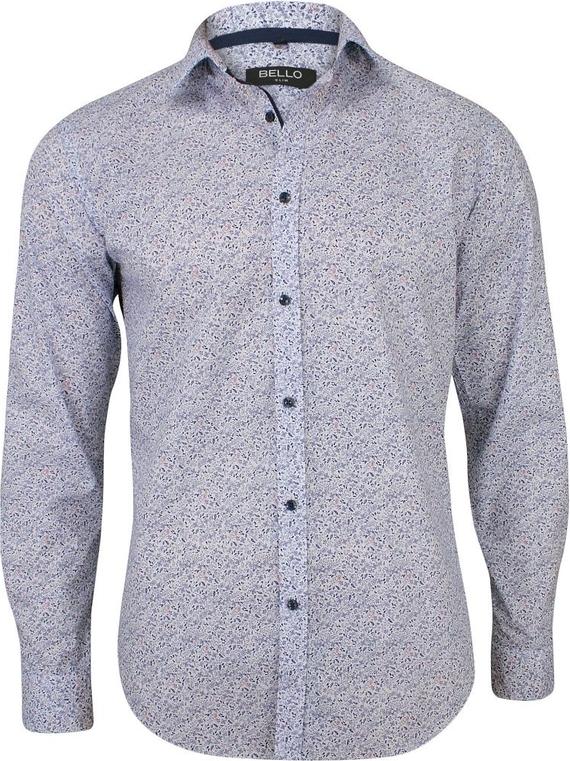 Granatowa koszula Bello z tkaniny z długim rękawem