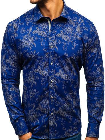 Granatowa koszula Denley w street stylu z klasycznym kołnierzykiem z długim rękawem