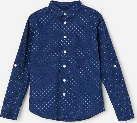 Granatowa koszula dziecięca Reserved w groszki
