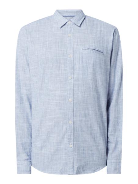 Granatowa koszula Esprit z bawełny z klasycznym kołnierzykiem z długim rękawem