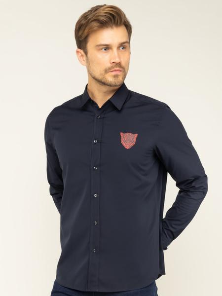 Granatowa koszula Hugo Boss z długim rękawem