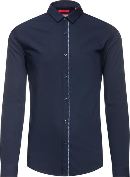 Granatowa koszula Hugo Boss z klasycznym kołnierzykiem z długim rękawem